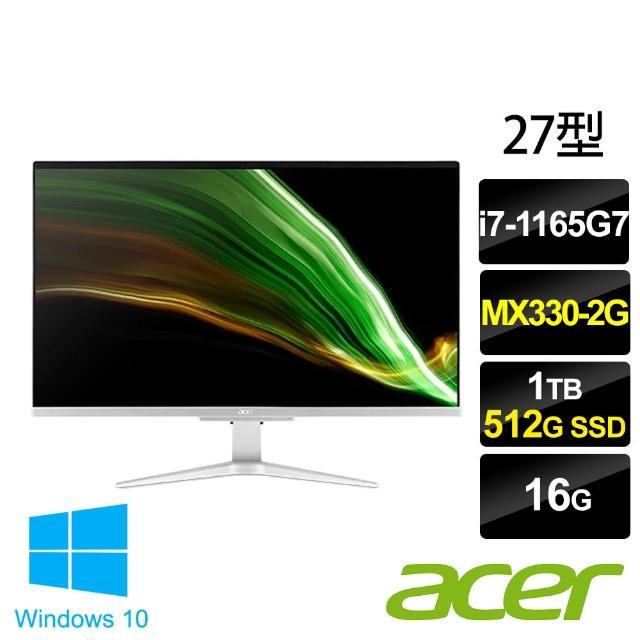 【Acer 宏碁】Aspire C27-1655 27型 AIO液晶電腦(i7-1165G7/16G/1T HDD+512G SSD/MX330-2G/W10)