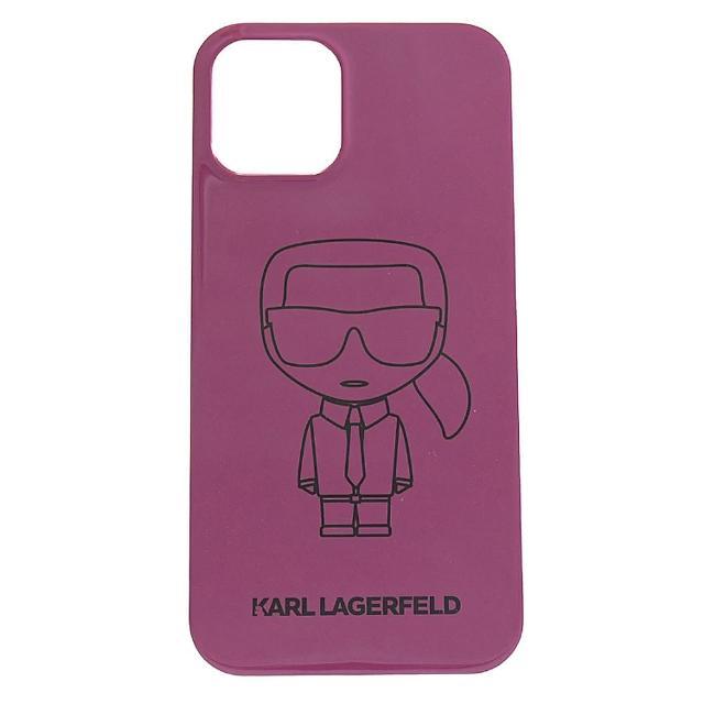 【KARL LAGERFELD 卡爾】老佛爺卡爾公仔造型I PHONE12保護套(紫紅)