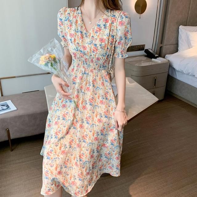 【Dorri】法式淺色碎花V領鬆緊高腰洋裝S-XL