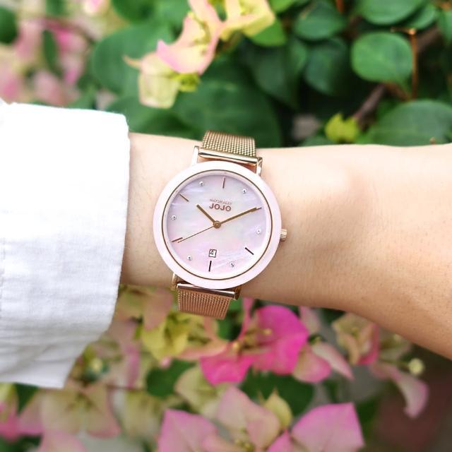 【NATURALLY JOJO】珍珠母貝 粉漾陶瓷 晶鑽 日期 米蘭編織不鏽鋼手錶 銀白x鍍玫瑰金 34mm(JO96979-10R)