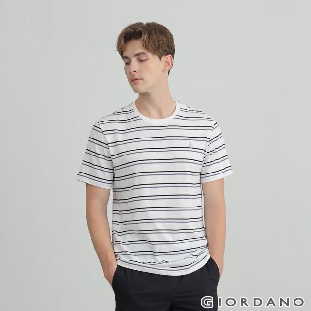 【GIORDANO 佐丹奴】男裝船錨刺繡條紋短袖T恤(10 雪白 X 永恆藍)