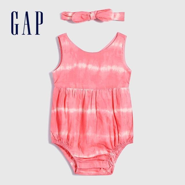 【GAP】嬰兒 紮染純棉包屁衣套裝(682811-粉紅色)