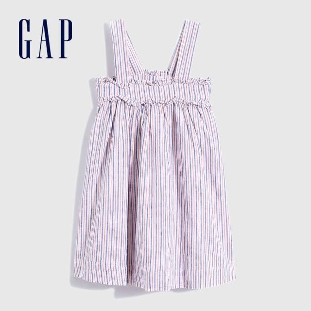 GAP【GAP】女幼童 亞麻混紡寬鬆吊帶裙(780557-彩色條紋)