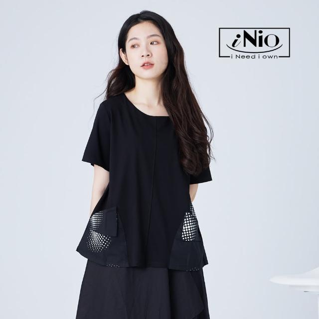 【iNio 衣著美學】視覺系拼接漸層大口袋短袖造型上衣(S-L適穿)-現貨快出C1W1143