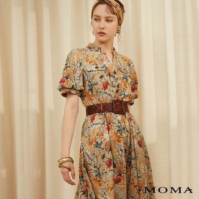 【MOMA】夏日花園澎袖洋裝(卡其)