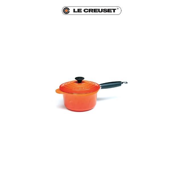 【Le Creuset】琺瑯鑄鐵電木柄醬汁鍋16cm(火焰橘)