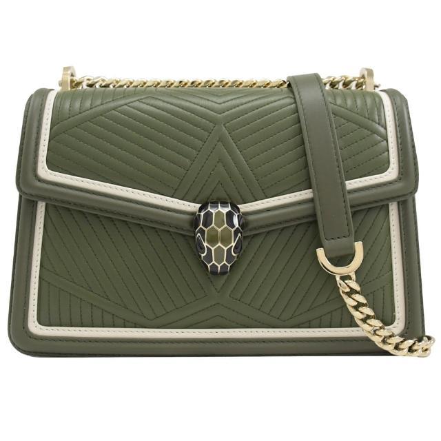 【BVLGARI 寶格麗】品牌金屬蛇頭車線牛皮斜背鍊包(橄欖綠)