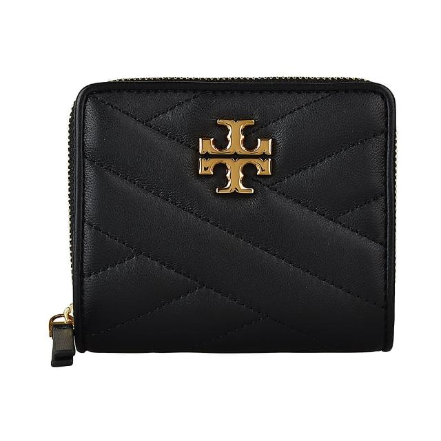 【TORY BURCH】TORY BURCH KIRA CHEVRON金字LOGO斜紋設計羊皮拉鍊短夾(黑)