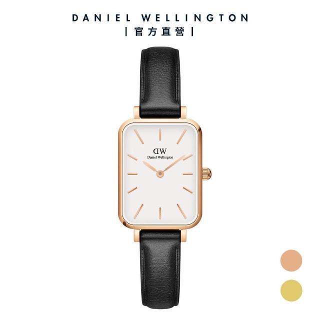 【Daniel Wellington】官方直營 Quadro Sheffield 20X26經典黑真皮皮革小方錶(DW手錶 DW00100434)