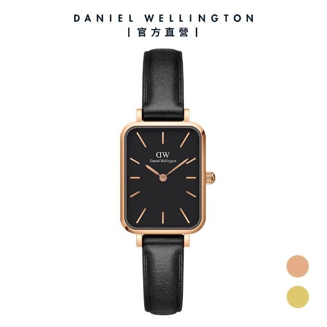 【Daniel Wellington】官方直營 Quadro Sheffield 20X26經典黑真皮皮革小方錶(DW手錶 DW00100435)