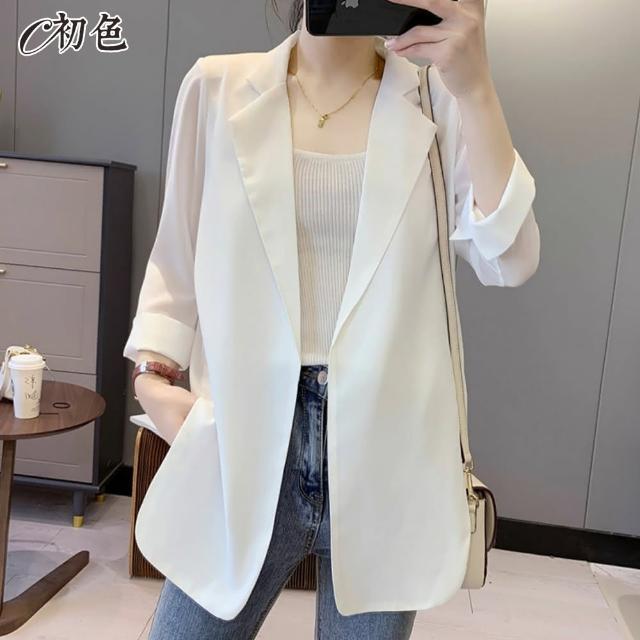 【初色】雪紡西裝外套-共2色-99072(M-2XL可選)