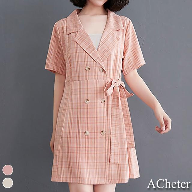 【ACheter】小香風西服剪裁雙排釦格紋俏麗洋裝#109333現貨+預購(2色)