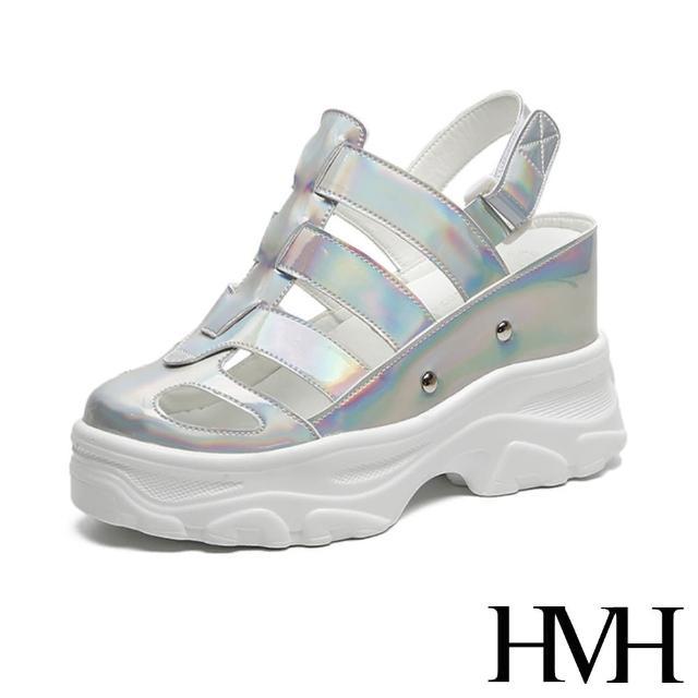 【HMH】時尚復古縷空線條包頭個性厚底內增高羅馬涼鞋(銀)