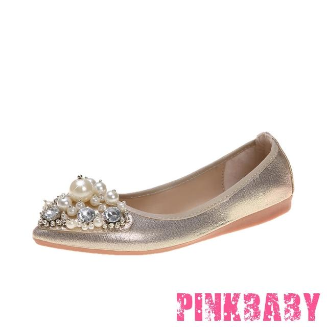 【PINKBABY】金屬亮皮珍珠美鑽造型尖頭低跟摺疊便鞋(金)