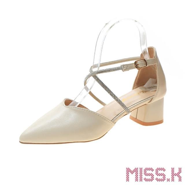 【MISS.K】氣質尖頭V口交叉線繩鑽帶粗跟涼鞋(米)