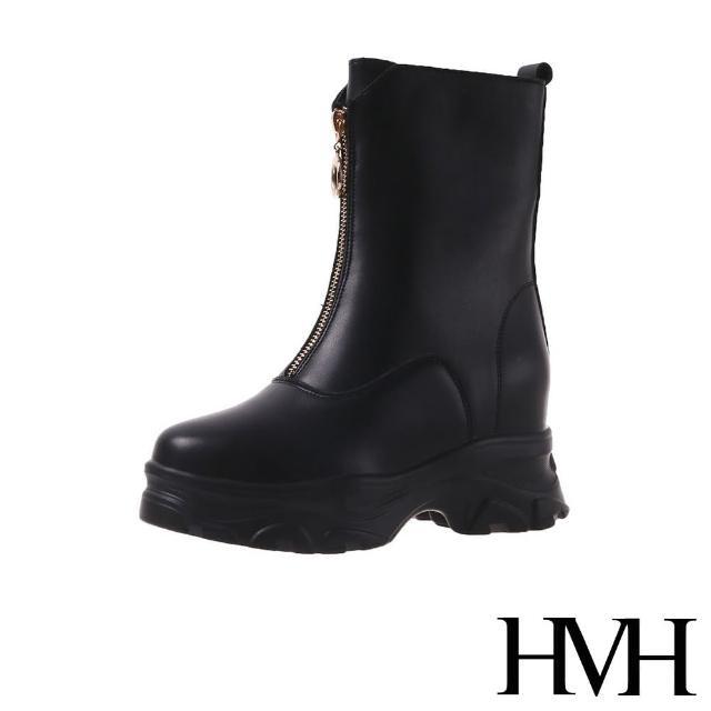 【HMH】厚底中筒靴 內增高中筒靴/時尚經典前拉鍊造型內增高厚底中筒靴(黑)