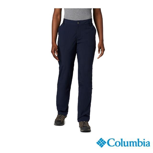 【Columbia 哥倫比亞】女款- UPF50快排長褲-深藍(UAR26680NY / 快排.防曬.休閒)