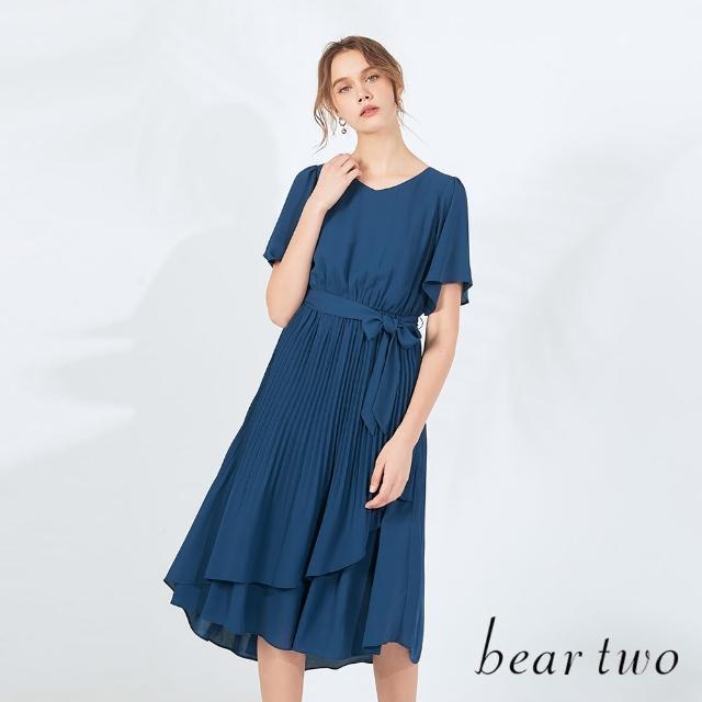 【bear two】飄逸雪紡綁帶長洋裝(兩色)