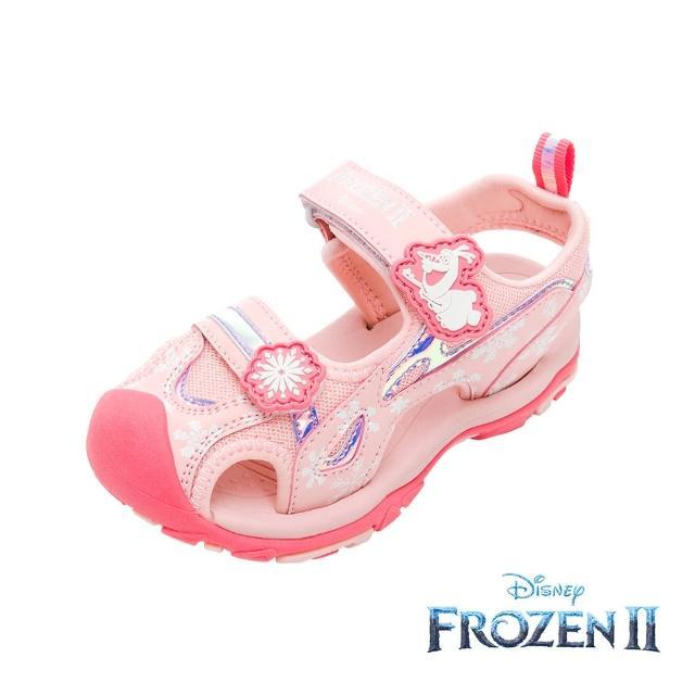 【Disney 迪士尼】冰雪奇緣2 護趾休閒涼鞋 魔鬼氈 透氣 蜜桃粉(FNKT14113正版授權)