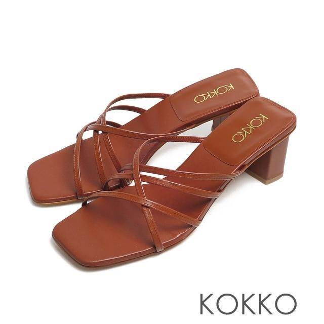 【KOKKO 集團】時髦方頭珍珠光細帶小牛皮粗跟涼拖鞋(咖啡色)