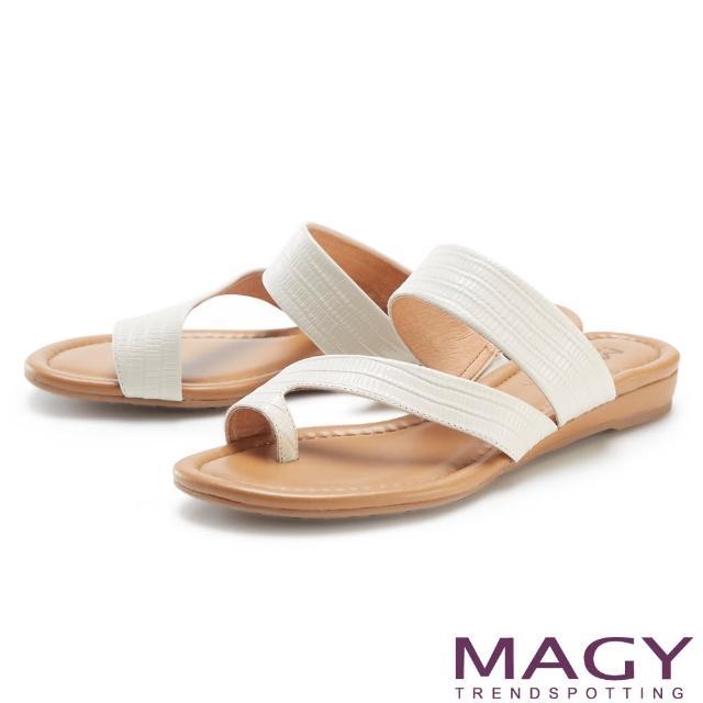 【MAGY】斜邊龍骨紋牛皮套指 女 拖鞋(白色)