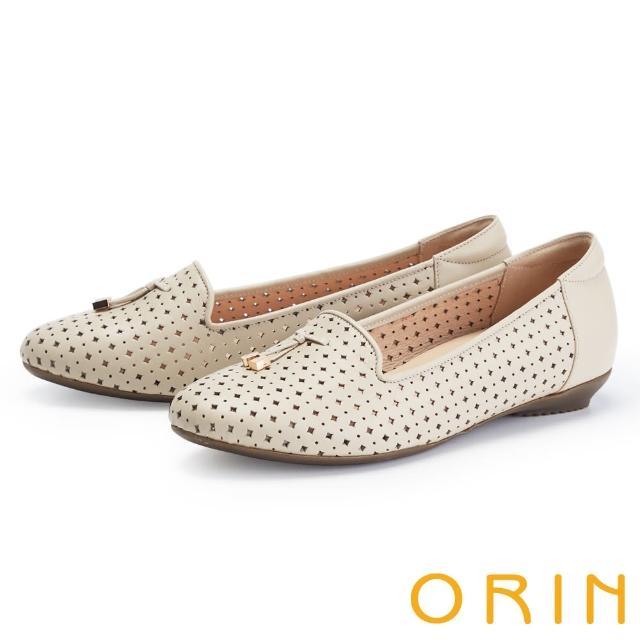 【ORIN】造型簍空真皮樂福 女 平底鞋(裸色)
