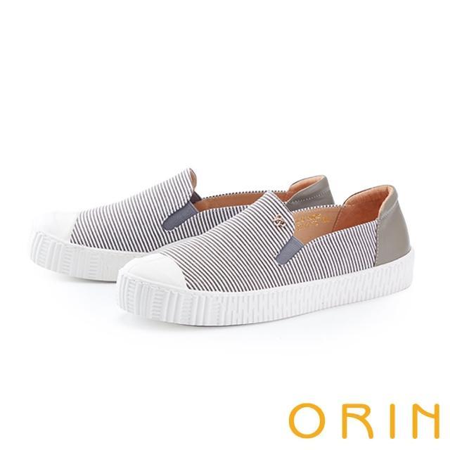 【ORIN】個性條紋拼接厚底 女 休閒鞋(灰色)