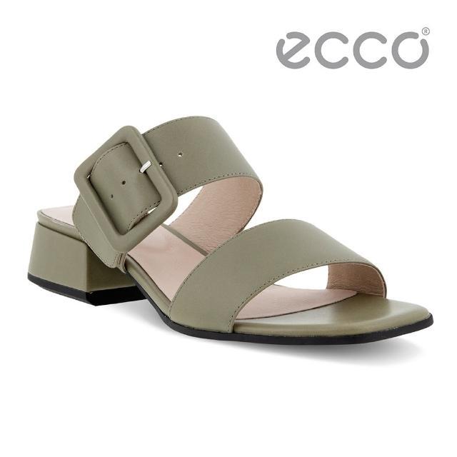 【ecco】ELEVATE SQUARED SANDAL 塑雅方頭摩登粗跟涼鞋 女鞋(草綠色 29131301529)