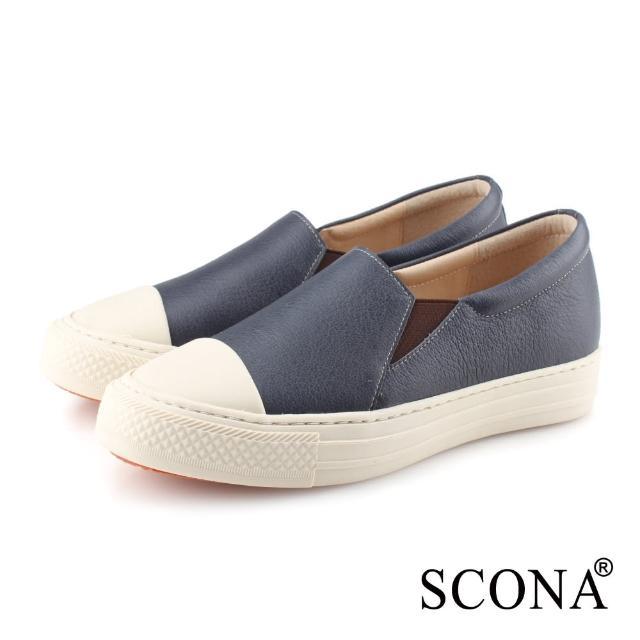 【SCONA 蘇格南】全真皮 樂活套式厚底休閒鞋(藍色 7355-1)