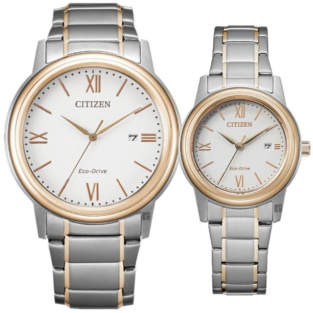 【CITIZEN 星辰】光動能城市手錶 對錶-銀x玫瑰金(AW1676-86A+FE1226-82A)