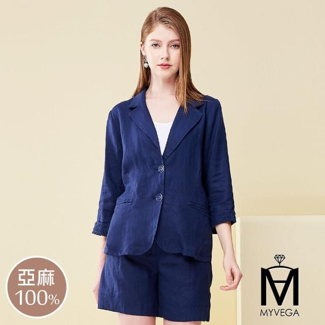 【MYVEGA 麥雪爾】MA棉麻蕾絲套裝外套-深藍