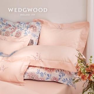 【WEDGWOOD】400織長纖棉刺繡床包被套枕套四件組-櫻花春蕾(雙人)