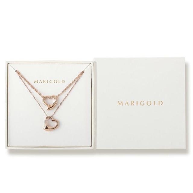 【MARIGOLD 美爾朵】飾品1+1禮盒(西德鋼愛心手鍊-玫瑰金+項鍊-玫瑰金)