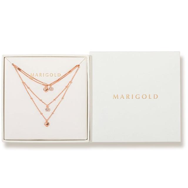 【MARIGOLD 美爾朵】飾品1+1禮盒(925純銀愛心雙層手鍊-玫瑰金+項鍊-玫瑰金)
