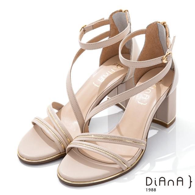 【DIANA】6.5CM 羊紋X牛皮異材質拼接金屬線條環踝羅馬跟鞋-都會女伶(米)