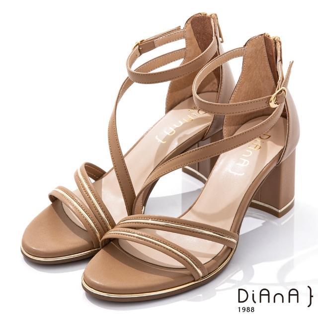 【DIANA】6.5CM 羊紋X牛皮異材質拼接金屬線條環踝羅馬跟鞋-都會女伶(棕)