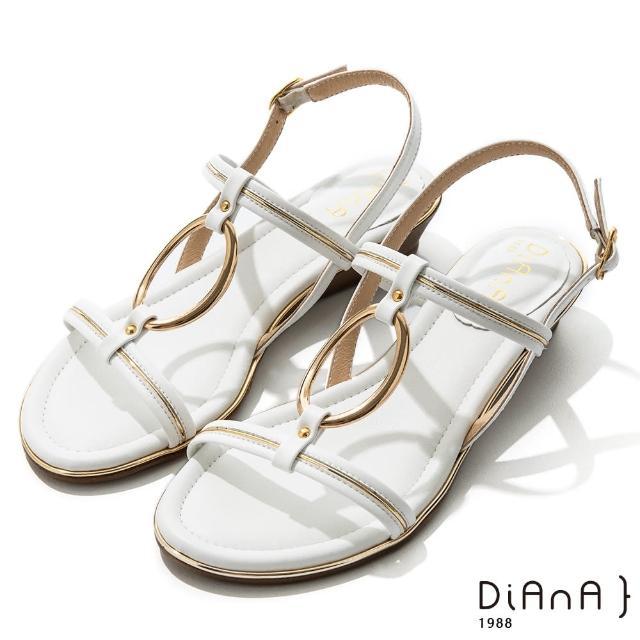 【DIANA】羊紋超纖金屬圓環線條楔型低跟涼鞋-夏日風情(白)