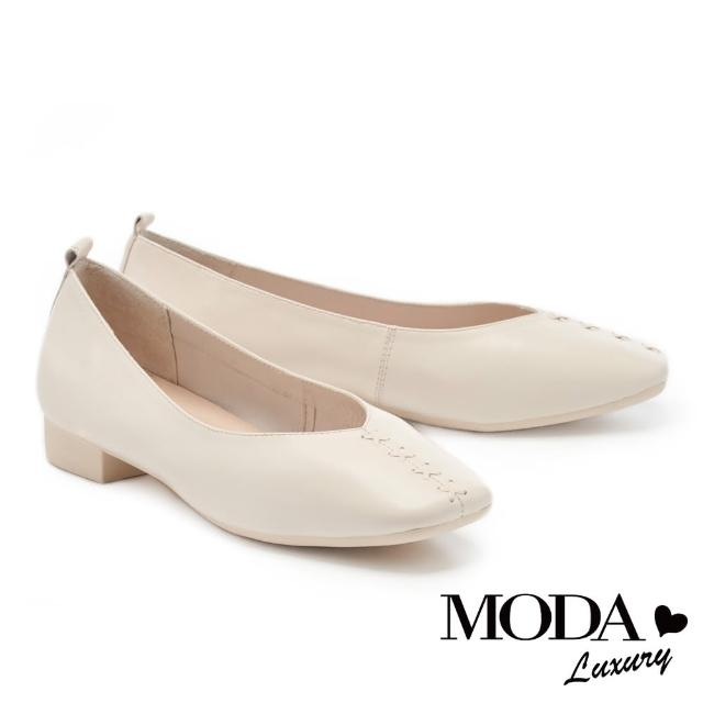 【MODA Luxury】舒適優雅全真皮獨特編織造型方頭低跟鞋(白)