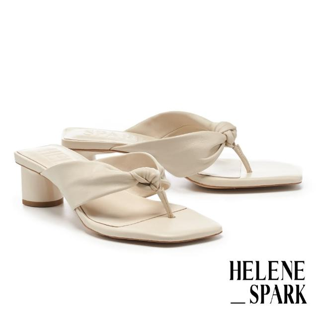 【HELENE SPARK】時髦純色扭結羊皮人字方頭高跟拖鞋(米)
