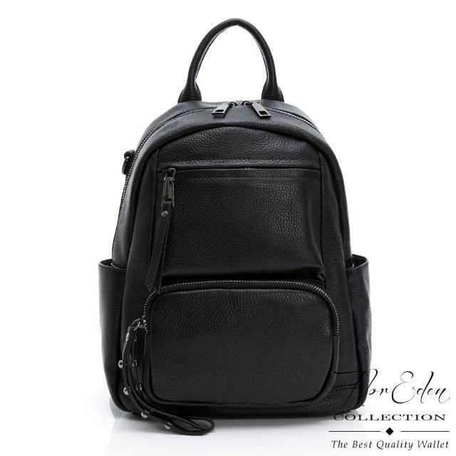 【D.F.Flor Eden】日系簡約真皮質感2WAY後背包-黑色