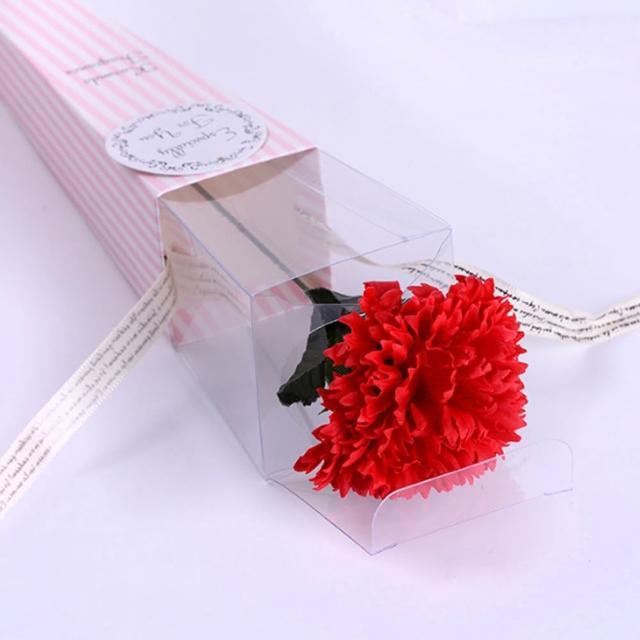 母親節康乃馨香皂花透明盒款6朵入(母親節花束 乾燥花 永生花 派對 花束 母親節布置 媽媽節送禮)