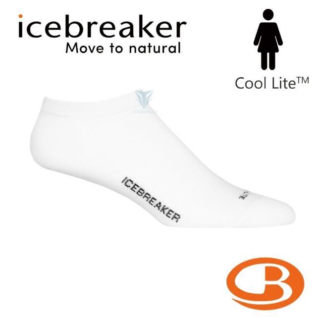 【Icebreaker】女 Cool-Lite 輕薄毛圈隱型襪-白/黑 IB104683(美國製造/短筒/隱型襪/美麗諾)