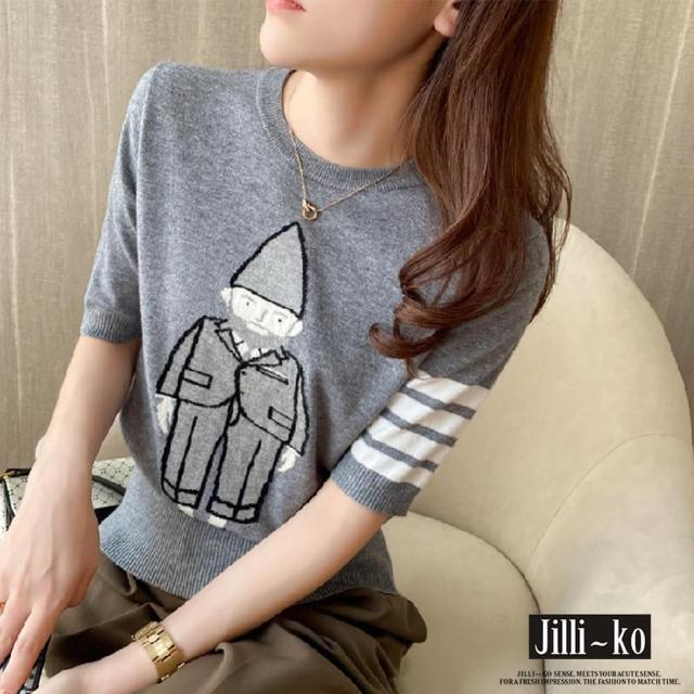 【JILLI-KO】英國先生條紋針織衫-F(灰)