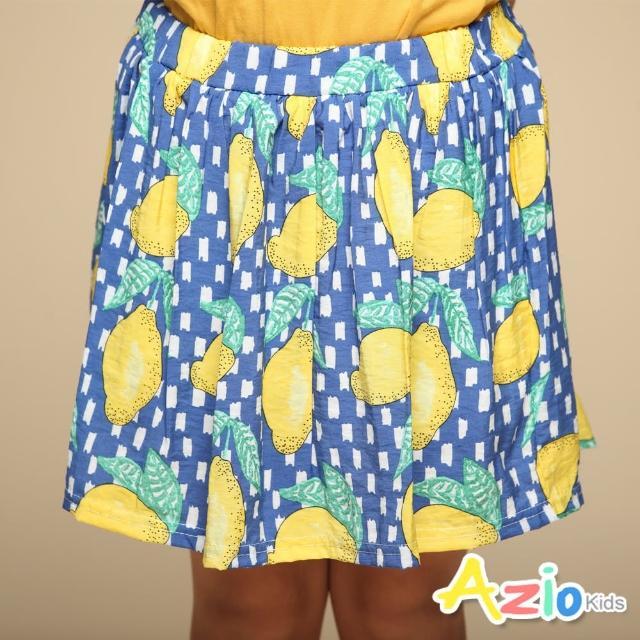 【Azio Kids 美國派】女童 短裙 滿版黃色檸檬印花短裙附安全褲(藍)