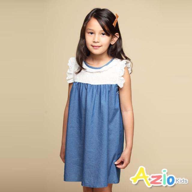 【Azio Kids 美國派】女童 洋裝 領口袖口蕾絲造型藍色牛仔接片短袖洋裝(藍)