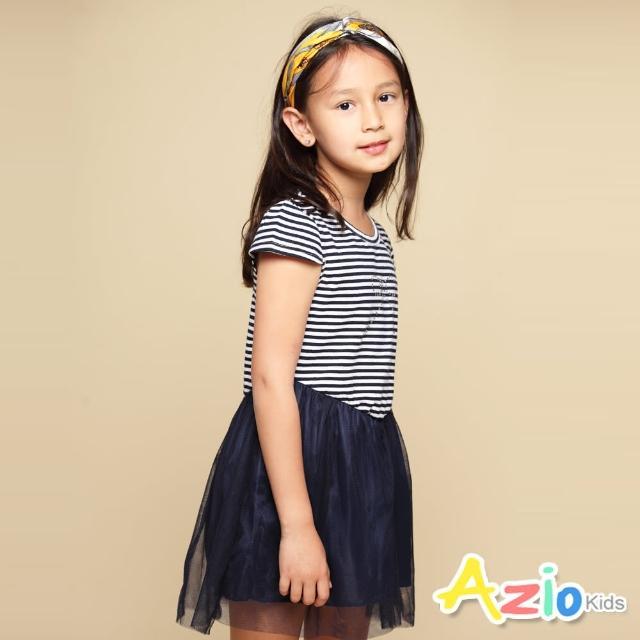 【Azio Kids 美國派】女童 洋裝 蝴蝶結貼鑽橫條紋網紗短袖洋裝(藍)
