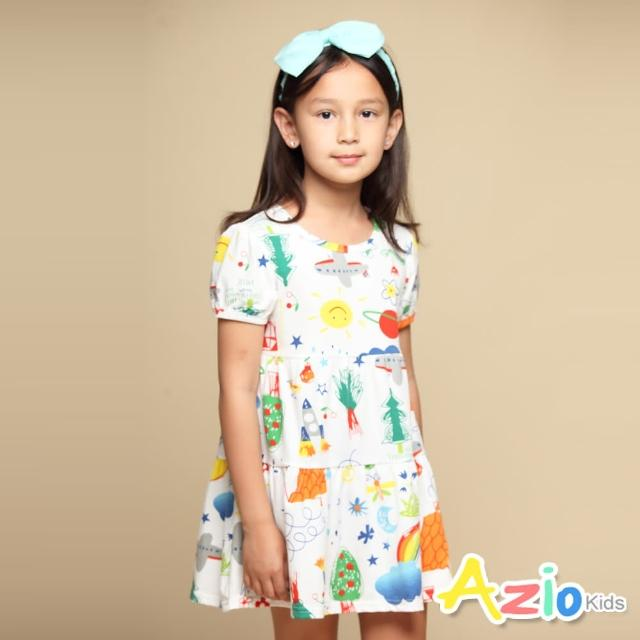 【Azio Kids 美國派】女童 洋裝 滿版彩色童趣塗鴉短袖洋裝(白)