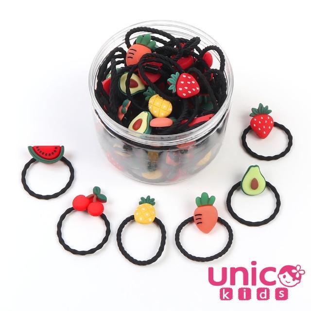 【UNICO】兒童少髮量甜美罐裝髮圈髮繩-30入繽紛水果款(組合罐裝)