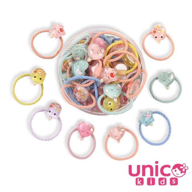 【UNICO】兒童少髮量甜美罐裝髮圈髮繩-30入果凍冰棒款(組合罐裝)