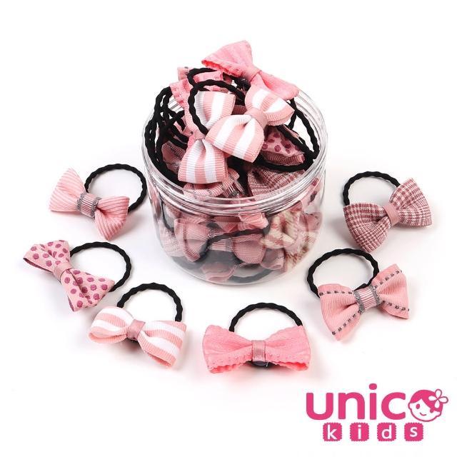 【UNICO】兒童少髮量甜美罐裝髮圈髮繩-20入俏皮蝴蝶結款(組合罐裝)